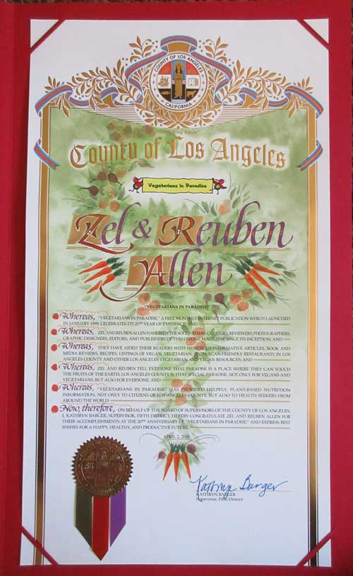 Vegetarians in Paradise LA County Award