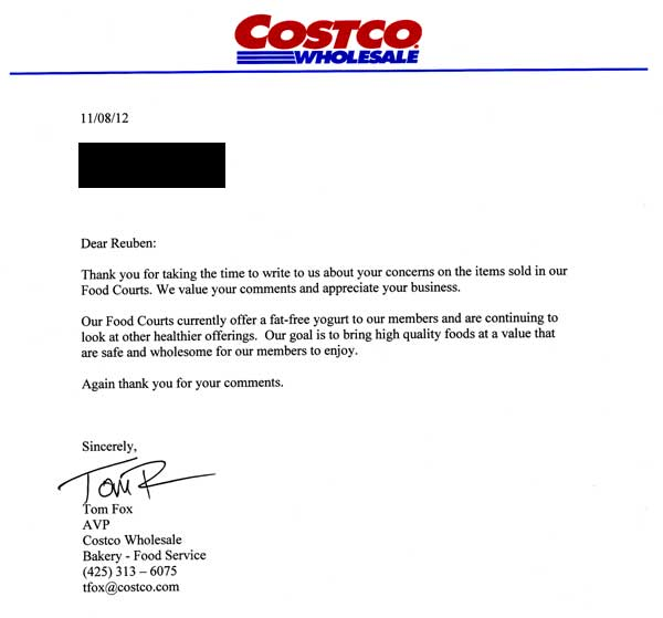 Costco Answer to Vegparadise Letter