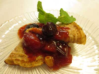 Vegan Crepes with Apricot Plum Compote
