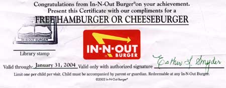 IN-N-OUT Burger Coupon