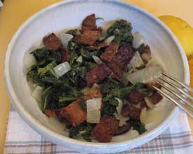 Mustard Greens with Tempeh Bacon