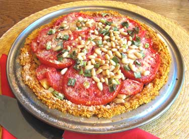 Tomato Pinenut Pie with Sweet Potato & Nut Crust