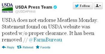 USDA Meatless Monday Twitter